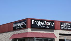 Brake Zone and Car Care. Offers complete auto care for your vehicle. Whether it's time for your next factory recommended maintenance visit, a routine oil Royalty Free Stock Images