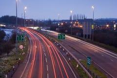 Brakelights y obras por carretera. Fotografía de archivo