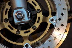 Brakes. Closeup of the break wheel in motorcycle Royalty Free Stock Photography