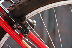 Brakes on a bike. Part of Mountain Bike brake disc in close up Stock Photo