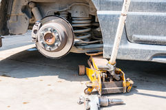 Brakes on a car with removed wheel Stock Image