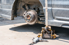 Brakes on a car with removed wheel Royalty Free Stock Photo
