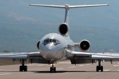 Braking after landing. Braking on runway after landing Stock Photo