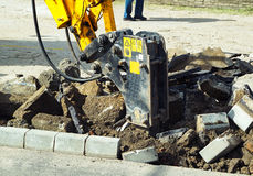 Braking the road at the road construction Royalty Free Stock Photo