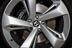 The braking system of the large luxury crossover SUV Bentley Bentayga, 2016. stock photos