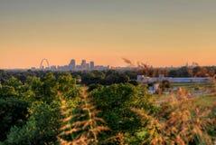 Brama łuk Louis i St, Missouri linia horyzontu fotografia royalty free