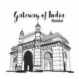 Brama indu Mumbai maharashtra imdia nakreślenie ilustracji
