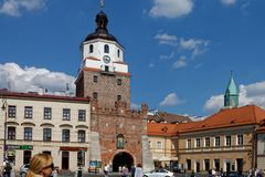Lublin, Lubelskie, Poland. Brama Krakowska Cracow Gate in downtown Lublin, one  the most important cities in Poland`s history royalty free stock photography