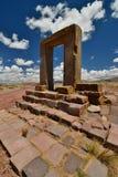 Brama księżyc Tiwanaku archeologiczny miejsce Boliwia zdjęcia royalty free