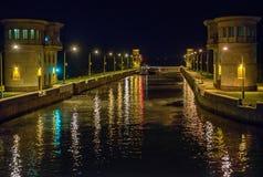 Brama na Moskwa kanale w nocy Fotografia Royalty Free