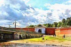Brama Peter I Paul forteca w St Petersburg royalty ilustracja
