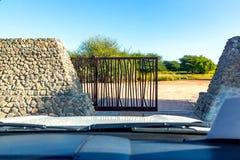 Brama safari park na Sir Bania Yas Wyspa, Abu Dhabi, Zjednoczone Emiraty Arabskie obraz royalty free