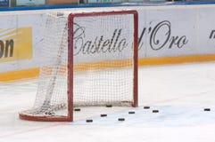 Bramkarz brama i hokejowi krążki hokojowi Zdjęcia Stock