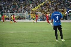 Bramkarz FC Ufa David Yurchenko ogląda grę Fotografia Royalty Free
