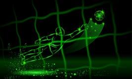 Bramkarz próba łapać piłkę tylni widok przez sieci tła czarny ikon neon umieszczał styl sześć royalty ilustracja