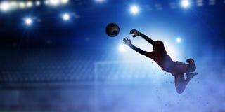 Bramkarza gracz w akci Mieszani środki Fotografia Stock