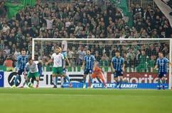 Bramkowa szansa przy Szwedzkiej piłki nożnej filiżanki kwartalnymi finałami między Djurgarden vs Hammarby obraz stock