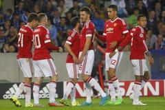 Bramkowy Wayne Rooney mistrza liga FC Bruges, Manchester United - Fotografia Royalty Free