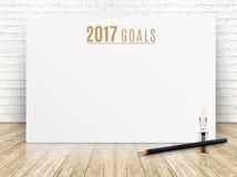 2017 bramkowych rok tekstów na białego papieru plakacie z czarnym ołówkiem i Fotografia Stock