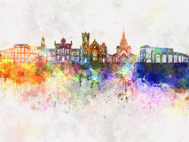 Brampton skyline in watercolor Royalty Free Stock Image
