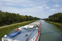 Bramsche (Germany) - Shipping traffic on the Mittelland Canal Royalty Free Stock Images