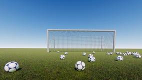 Bramy piłki nożnej wschód słońca royalty ilustracja