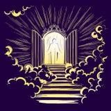 Bramy raj, wejście nadziemski miasto, spotyka bóg, symbol chrystianizmu ręka rysujący wektor royalty ilustracja