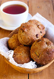 Bran and apple muffins. And tea Royalty Free Stock Images
