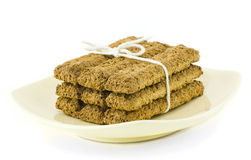 Bran Biscuits - Tied On Vanilla Dish Royalty Free Stock Image