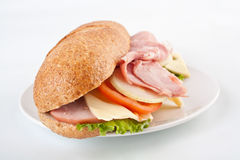 Bran Bread Ham Sandwich Stock Photography