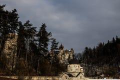 Bran Castel. Bran Castle (Romanian: Castelul Bran; German: Törzburg; Hungarian: Törcsvár), situated near Bran and in the immediate vicinity of Braşov, is a Stock Photo