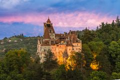Bran Castle At Sunset Stock Photography