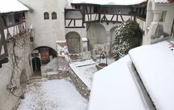 The Bran Castle - courtyard and roof Royalty Free Stock Photography