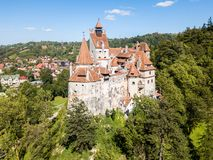 Walled Bran castle on a hill. Dracula's Castle, after Vlad III the Impaler Drakula, Vlad Tepes. Transylvania, Romania. stock photos