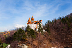 Bran Castle on hill  top view in Romania Royalty Free Stock Photo