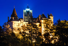 Bran Castle night, Dracula fortress in omania. Medieval Bran castle in Romania, Brasov, known for Dracula myth, one of landmarks of Romania (XIVth century). The Stock Photography