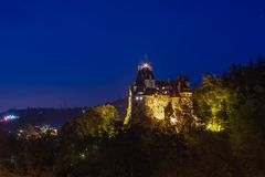 Bran Castle night scene with blue sky ,known as Dracula castle from Romania. Bram Stoker legend royalty free stock image
