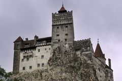 Bran castle on a rainy day royalty free stock image
