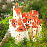 Bran Castle, Romania. An aerial view overlooking Bran Castle in Romania, also known as Dracula's Castle Stock Photos