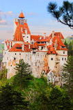Bran Castle in Romania. Castle with orange towers in Bran, Romania Stock Photography