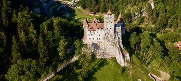 Bran Castle Romania Drone View Nice A Weather Royalty Free Stock Image