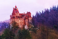 Bran Castle during sunset in Romania Stock Images