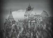 Bran Castle in Romania. In winter at night stock photography