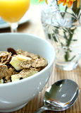 Bran cereal with banana chips Stock Photo