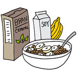 Bran cereal with bananas and soy milk Royalty Free Stock Images