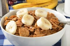 Bran cereal with sliced bananas Stock Photos