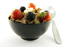 Bran Flakes in a Black Bowl Royalty Free Stock Photography
