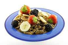 Bran Flakes in a Blue Bowl Royalty Free Stock Photography