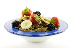 Bran Flakes in a Blue Bowl Royalty Free Stock Image