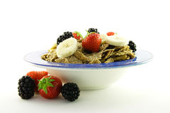 Bran Flakes in a Blue Bowl Stock Photo